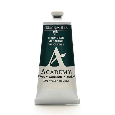 Grumbacher Academy Acrylic Colors Thalo Green Blue Shade 3 Oz. (90 Ml) [Pack Of 3] (3PK-C205)
