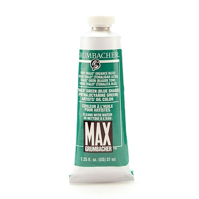 Grumbacher Max Water Miscible Oil Colors Thalo Green (Blue Shade) 1.25 Oz. [Pack Of 2] (2PK-M205)