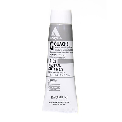 Holbein Acryla Gouache 20 Ml Neutral Grey #3 [Pack Of 2] (2PK-D163)