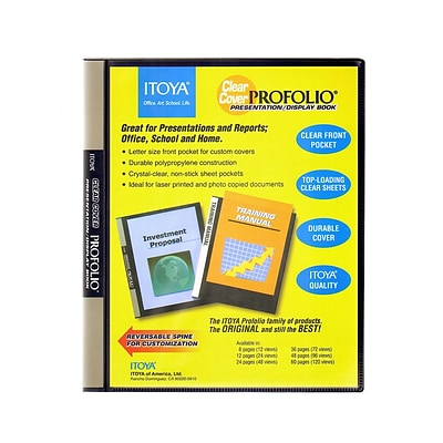 Itoya Clear Cover Profolio Presentation Books 24 Pages (48 Views) [Pack Of 2] (2PK-CC-24)