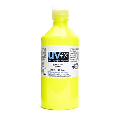 Jack Richeson Uvfx Black Light Poster Paint Fluorescent Yellow 250 Ml Bottle [Pack Of 2] (2PK-0242507478)