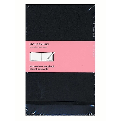 Moleskine Classic Hard Cover Notebooks Black 5 In. X 8 1/4 In. 72 Pages, Watercolor [Pack Of 2] (2PK-9788883705625)