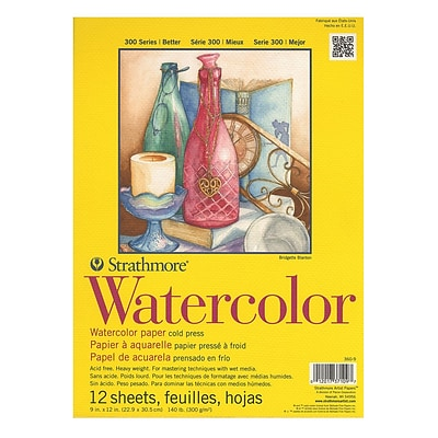 Strathmore 300 Series Watercolor Paper 9 In. X 12 In. Pad Of 12 Wire Bound [Pack Of 2] (2PK-360-9-1)