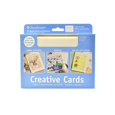 Strathmore Blank Greeting Cards With Envelopes Fluorescent White With Same Deckle Pack Of 20 (105-16-1)