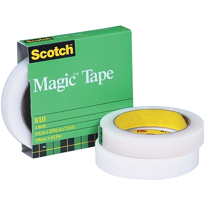 Scotch® 810 Magic Tape (Permanent), 3 Core Rolls, 1/2 x 72 yds, 12 Rolls/Carton