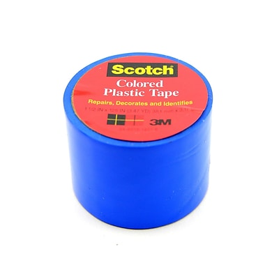 Scotch Colored Plastic Tape Blue 1 1/2 In. [Pack Of 12] (12PK-191BLU)