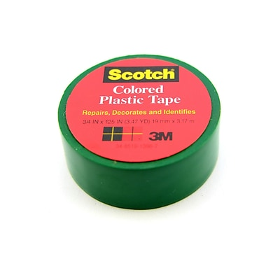 Scotch Colored Plastic Tape Green 3/4 In. [Pack Of 18] (18PK-190GRE)