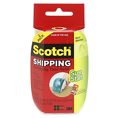 Scotch Easy-Grip Packaging Tape 1.88 In. X 600 In. Refill Rolls Pack Of 2 [Pack Of 3] (3PK-DP-1000-RR-2)