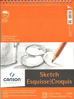 Canson Foundation Sketch Pads, 11 In. X 14 In., 50 Sheets, Pack Of 3 (3pk 100511030)