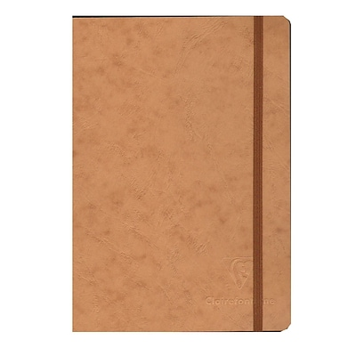 Clairefontaine Cloth-Bound Notebooks 6 In. X 8 1/4 In. Ruled, Tan Cover, Elastic Closure 96 Sheets [Pack Of 3] (3PK-79546)