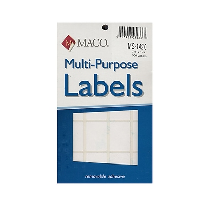 Maco Multi-Purpose Handwrite Labels Rectangular 7/8 In. X 1 1/4 In. Pack Of 500 [Pack Of 6] (6PK-MS-1420)