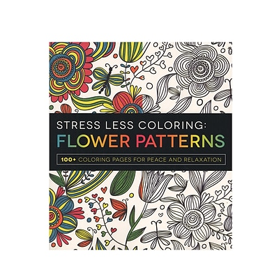 Adams Media Stress Less Coloring Adult Book Flower Patterns (9781440592874)