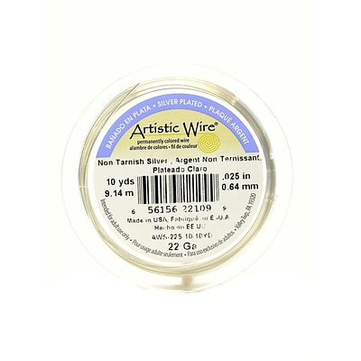 Artistic Wire Spools 10 Yds. Non-Tarnish Silver 22 Gauge, Silver Plated [Pack Of 4] (4PK-AWS-22S-10-10YD)