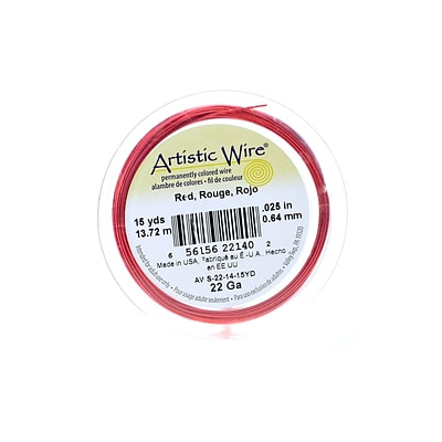 Artistic Wire Spools 15 Yd. Red 22 Gauge [Pack Of 4] (4PK-AWS-22-14-15YD)