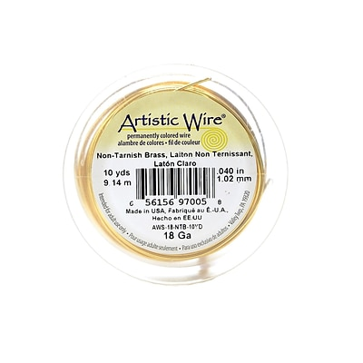 Artistic Wire Spools 20 Ft. Non-Tarnish Brass 18 Gauge [Pack Of 4] (4PK-AWS-18-NTB-10YD)