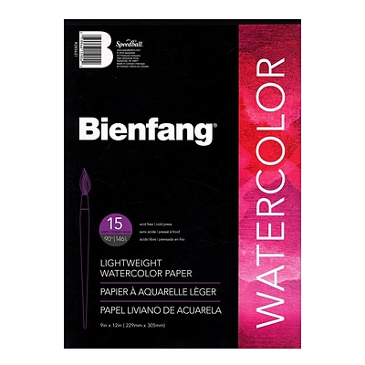 Bienfang Aquademic Watercolor Pads 9 x 12, 15 Sheets/Pad, Pack of 4 (4PK-R285621)