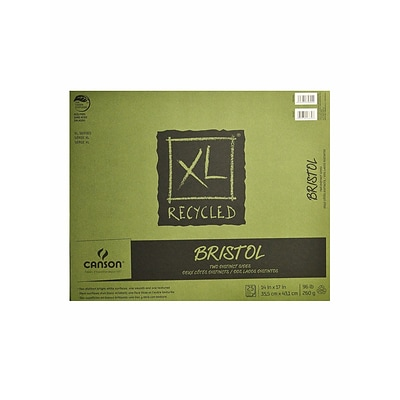 Canson XL Recycled Bristol Pads, 14 In. x 17 In., Pad Of 25 Sheets, Fold-Over (100510934)