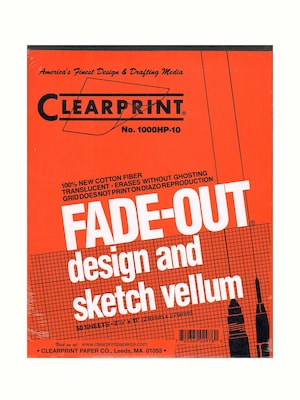 Clearprint Fade Out Design And Sketch Vellum Grid Pad 10 X 10 8 1/2 In. X 11 In. Pad Of 50 (10003410)