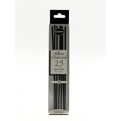 Coates Willow Charcoal 2 Mm - 3 Mm Thin Box Of 25 (1001)