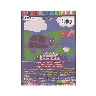Pacon Sunworks Construction Paper Brown 9 In. X 12 In. [Pack Of 5] (5PK-6703)