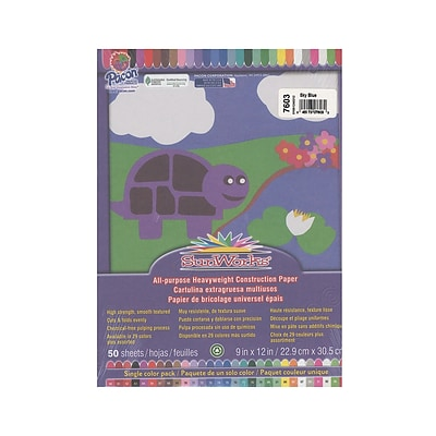 Pacon Sunworks Construction Paper Sky Blue 9 In. X 12 In. [Pack Of 5] (5PK-7603)