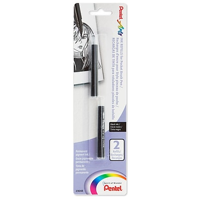 Pentel Pocket Brush Pen Refills, Pack Of 2 Black [Pack Of 4] (4PK-FP10BP2A Black Ink)