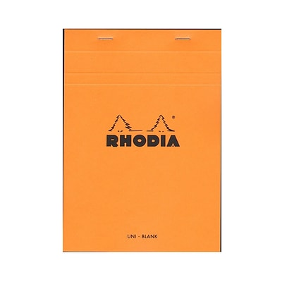 Rhodia Classic French Paper Pads Blank 6 In. X 8 1/4 In. Orange [Pack Of 4] (4PK-16000)