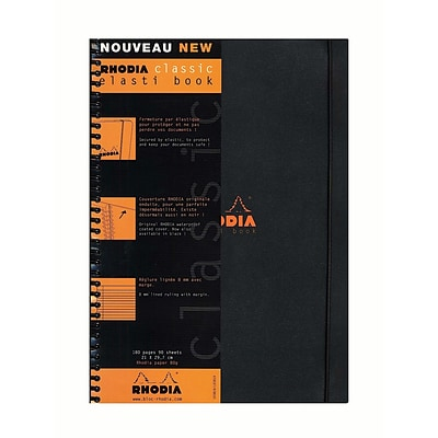 Rhodia Elasti-Books Ruled With Margin 8 1/4 In. X 11 3/4 In. Black (193819)