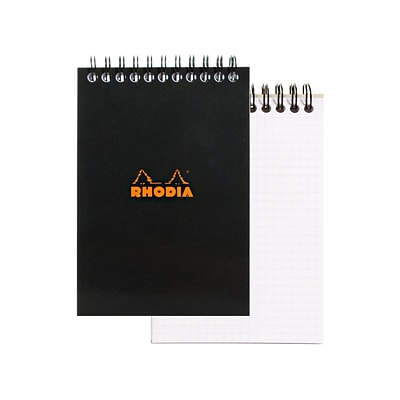 Rhodia Wirebound Notebooks Graph 4 In. X 6 In. Black [Pack Of 5] (5PK-135009)