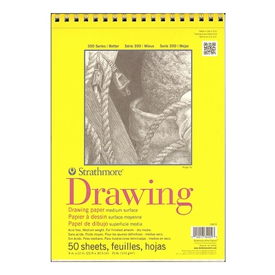 Strathmore 300 Series Drawing Paper Pads 9 x 12, Pack Of 3 (3PK-340-9-1)