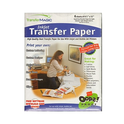 Transfer Magic Transfer Paper Pack Of 6 For Ink Jet Or Bubble Jet Printers [Pack Of 2] (2PK-FXPI-6)