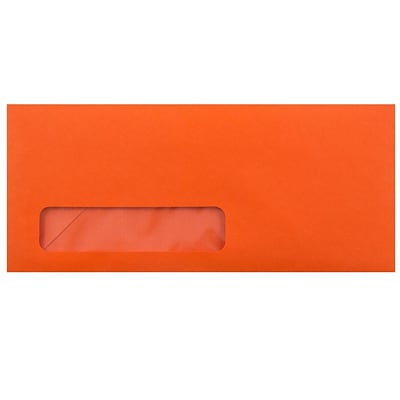 JAM Paper® #10 Window Envelope - 4 1/8 x 9 1/2 - Brite Hue Orange - 1000/carton