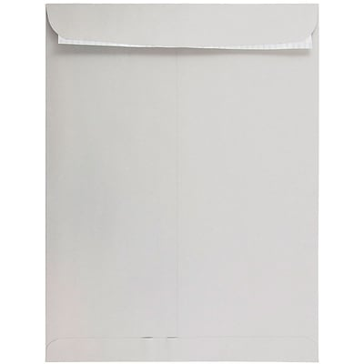 JAM Paper® 12 x 15 1/2 Open End Envelopes, Peel & Seal Closure, Light Grey, 500/Box (12931117)