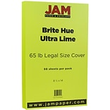 JAM Paper® 8 1/2 x 14 Legal Size Cardstock, Brite Hue Ultra Lime Green, 50/Pack (16730929)