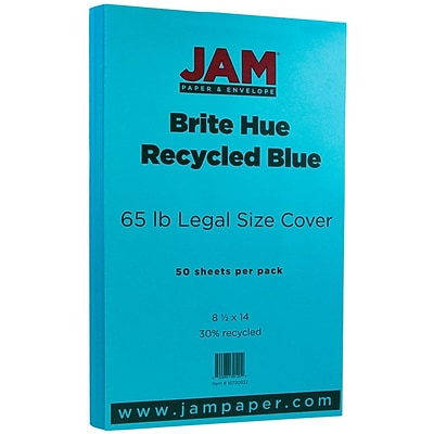 JAM Paper® 8 1/2 x 14 Legal Size Recycled Cardstock, Brite Hue Blue, 50/Pack (16730932)