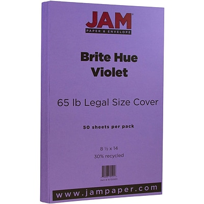 JAM Paper® 8 1/2 x 14 Legal Size Recycled Cardstock, Brite Hue Violet Purple, 50/Pack (16730933)