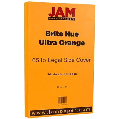 JAM Paper® 8 1/2 x 14 Legal Size Cardstock, Brite Hue Ultra Orange, 50/Pack (16730934)