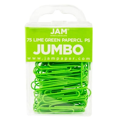 JAM Paper® Vinyl Jumbo Paper Clips, 2 length, Lime Green, 75/Pack (21830627)