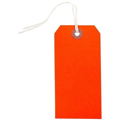 JAM Paper® Gift Tags with String, Medium, 4 3/4 x 2 3/8, Neon Red, 10/Pack (91931038)