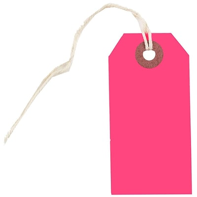 JAM Paper® Gift Tags with String, Small, 3 1/4 x 1 5/8, Neon Pink, 100/Pack (91931046B)