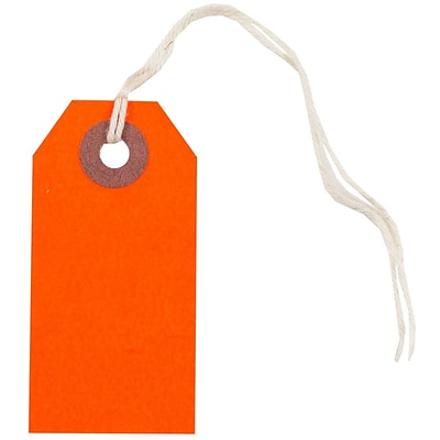 JAM Paper® Gift Tags with String, Tiny, 2 3/4 x 1 3/8, Neon Red, 100/Pack (91931048B)