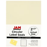 JAM Paper® Circle Label Sticker Seals; 2 1/2 Diameter, Ivory, 120/Pack (147628590)