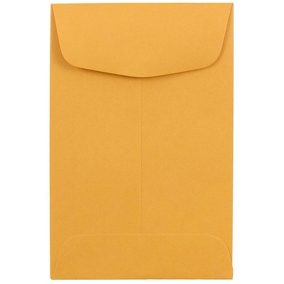JAM Paper® #4 Coin Envelopes; 3 x 4 1/2, Brown Kraft / Manila, 50/Pack (356731206C)
