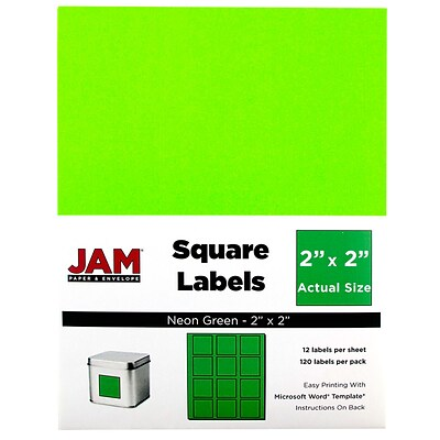 JAM Paper® Square Address Labels, 2 x 2, Neon Green, 120/Pack (367831072)