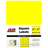 JAM Paper® Square Address Labels; 2 x 2, Neon Yellow, 120/Pack (367831073)
