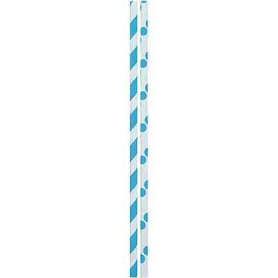 JAM Paper® Color Paper Straws, Light Blue Stripes and Dots, 24/Pack (52662006969)