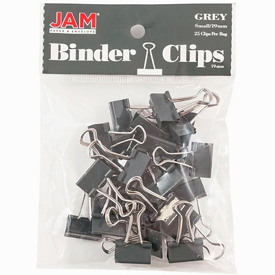 JAM Paper® Colored Binder Clips, Small, 0.75/19mm, Grey, 25/Pack (334BCGY)