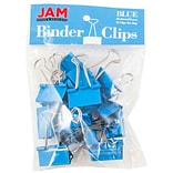 JAM Paper® Binder Clips; Medium, 1.25/32mm, Blue, 15/Pack (339BCBU)