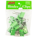 JAM Paper® Binder Clips; Medium, 1.25/32mm, Green, 15/Pack (339BCGR)