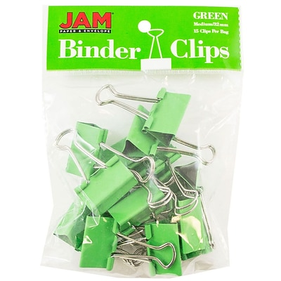 JAM Paper® Colored Binder Clips, Medium, 1.25/32mm, Green, 15/Pack (339BCGR)